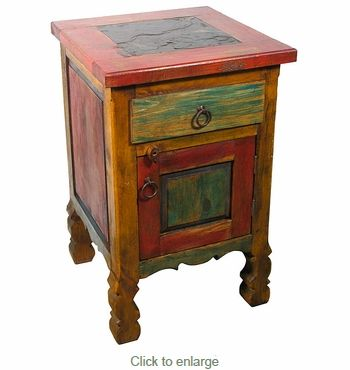 Rustic Painted Wood Tall Nightstand with Slate Top