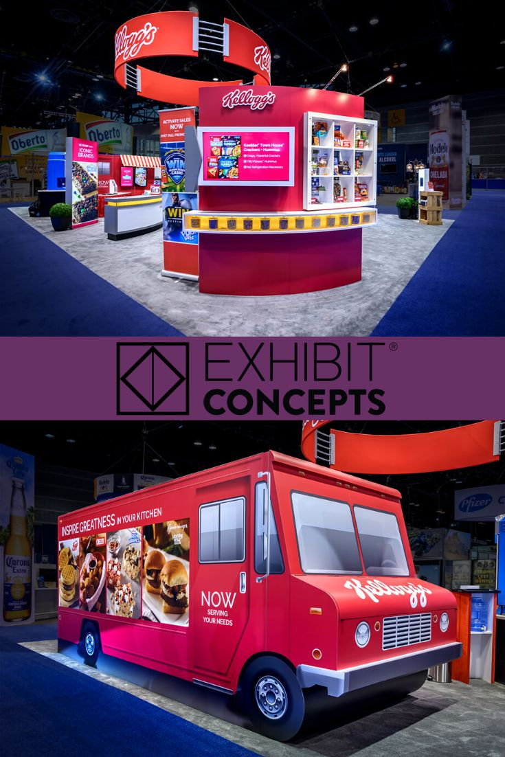 Kellogg S Trade Show Booth Rental Signage Design Tradeshow Booth Booth Design