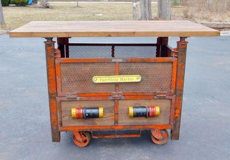 Vintage Antique Industrial Cart Butcher Block Bar Table
