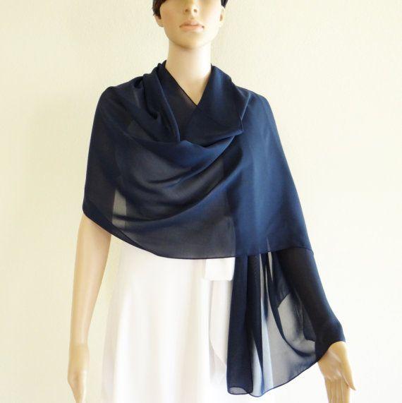 Navy Blue Scarf.Wrap Scarf. Long Scarf.Chiffon scarf