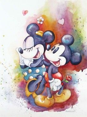 Disney Fine Art - A Rose For Minnie. Mickey and Minnie. Biggs Ltd. Gallery. Heirloom quality bridal, art, baby gifts and home decor. 1-800-362-0677. $450.