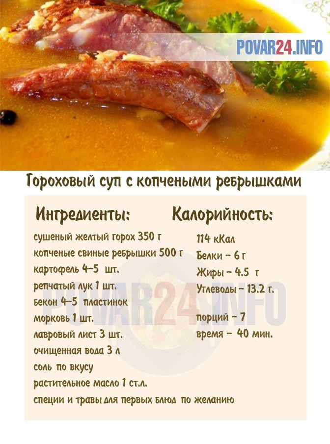 Рецепт горохового супа с копчеными ребрышками | Рецепт ...