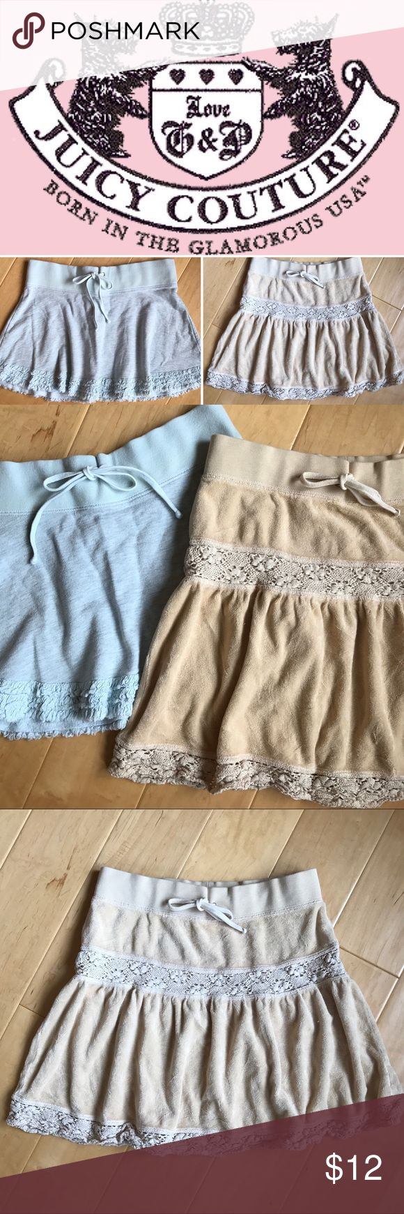 ❌2️⃣BOGO Juicy Couture Skirts Buy One Get One Free! You get BOTH skirts in this Bundle of 2 Juicy Couture Velour Skirts! Elastic waistband and ties in front. One is beige/coffee color the other is a light blue heather gray. Perfect for summer and beach weather.                                                    ☀️From a non-smoking no pets home ☀️Reasonable offers are always welcome ☀️Bundle 3 & save 30% ☀️Orders are shipped next business day ☀️Happy to answer any questions Juicy Couture…