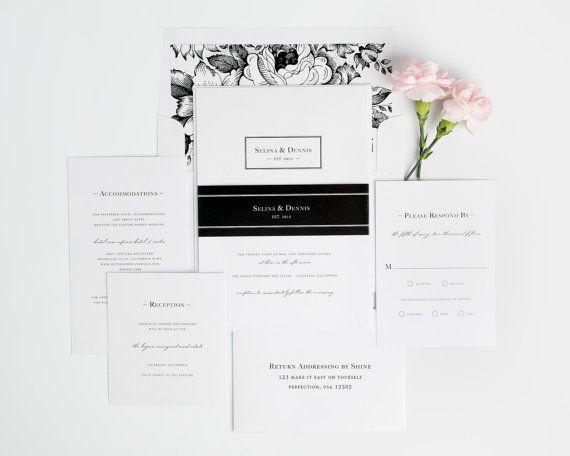 Boxed Monogram Wedding Invitation Black and by ShineInvitations