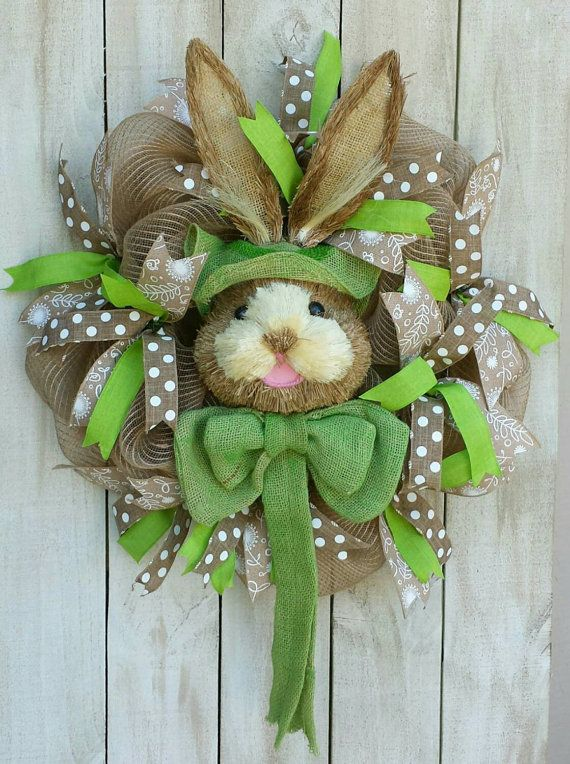 Check out this item in my Etsy shop https://www.etsy.com/listing/224400974/burlap-bunny-wreath-easter-wreath-bunny