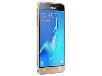 """Smartphone Samsung J3 2016 8GB Dourado Dual Chip - 4G Câm. 8MP + Selfie 5MP Tela 5"""" HD Proc Quad Core com as melhores condições você encontra no Magazine Tonyroma. Confira!"""