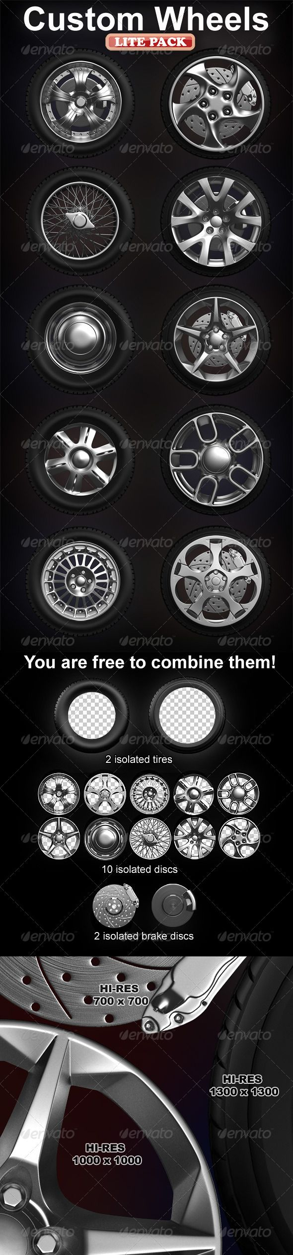 Isolated custom wheels pack (2 tires, 10 discs)