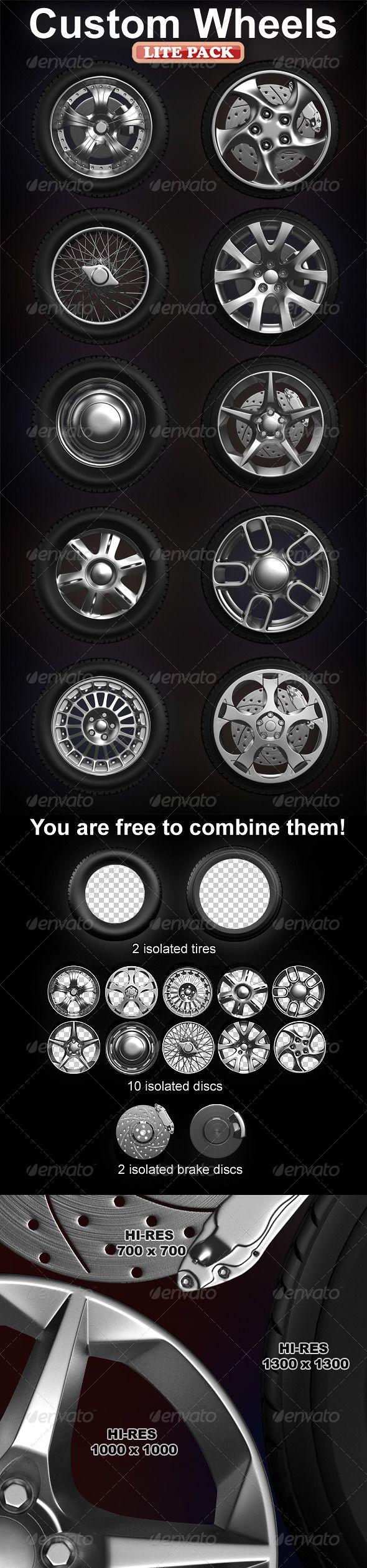 Isolated custom wheels pack (2 tires, 10 discs)