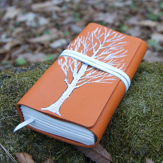 craftSOO - Leather journal, Hand bound leather journal, Notebook, Sketchbook,Orange  -White Tree