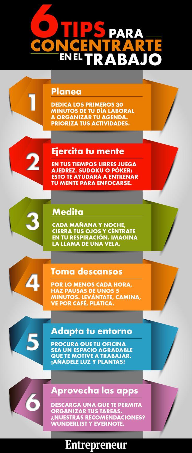Tips para concentrarte en el trabajo #infografía