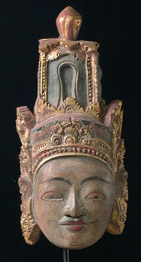 Buddha mask India 10.5 inches, painted wood