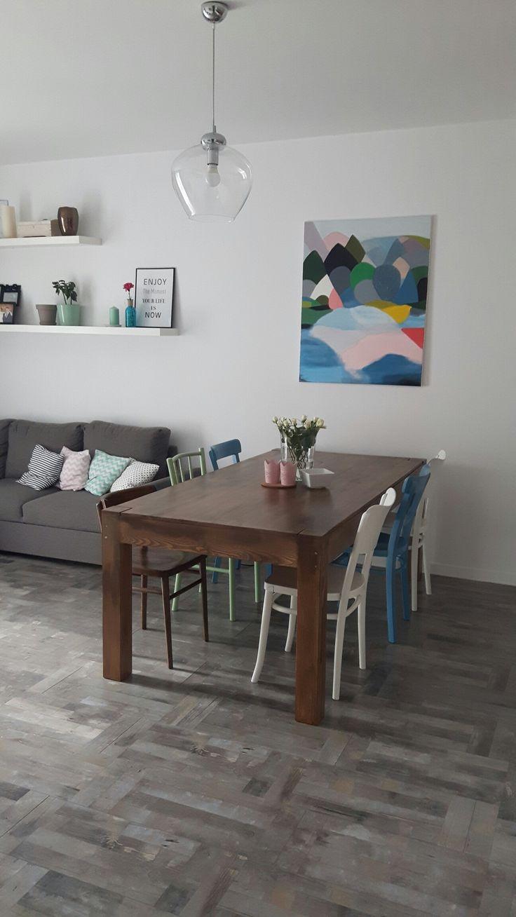 Obraz od mamy 😍 sztuka we wnętrzu ❤ #salon  #livingroom #pastelscolors #painting #art