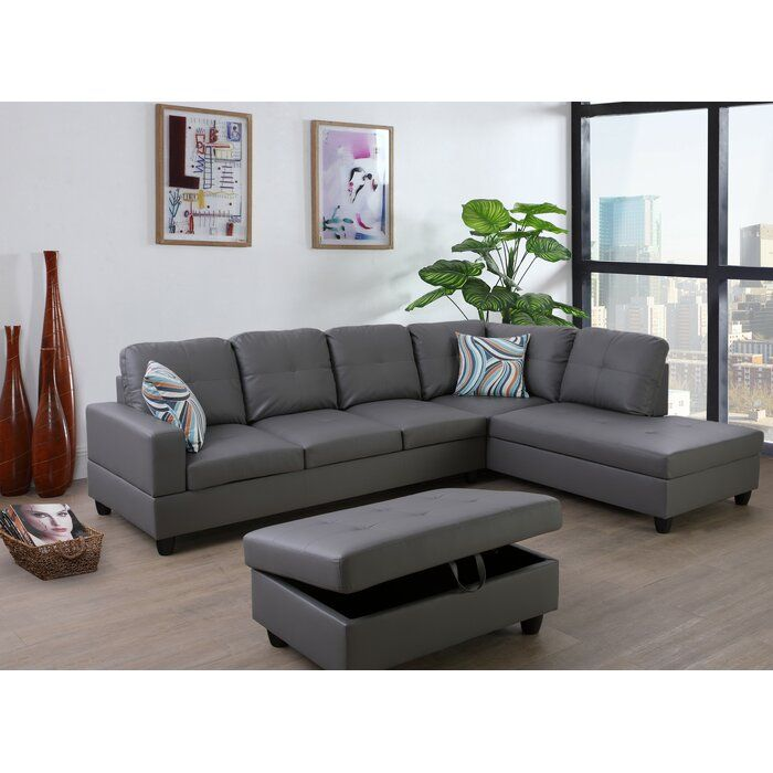 Maumee 103 50 Sectional With Ottoman In 2020 Leather Sectional Sectional Sofa Room