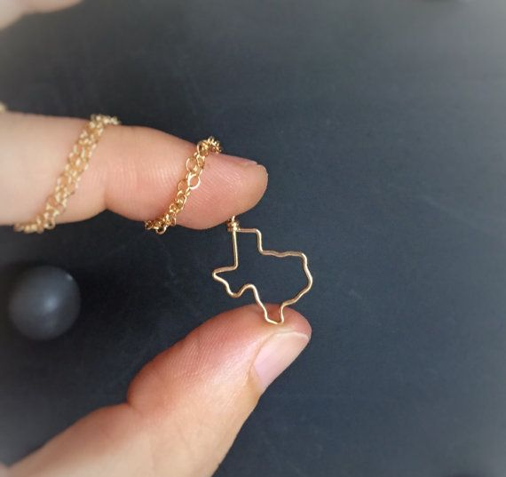 Texas Necklace in 14k gold filled or Sterling silver. Such a little cutie you are, Texas!  Made to order with your choice of sterling silver or 14k gold