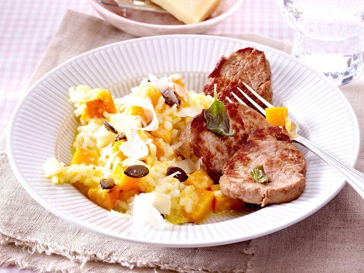 Kürbis-Rezepte mit Hokkaido, Butternut & Co. - kuerbisrisotto-schweinemedaillons  Rezept