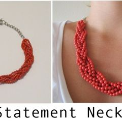 Coral Statement Necklace DIY (did a version of the braided necklace with blue beads, gonna try it with red next!)