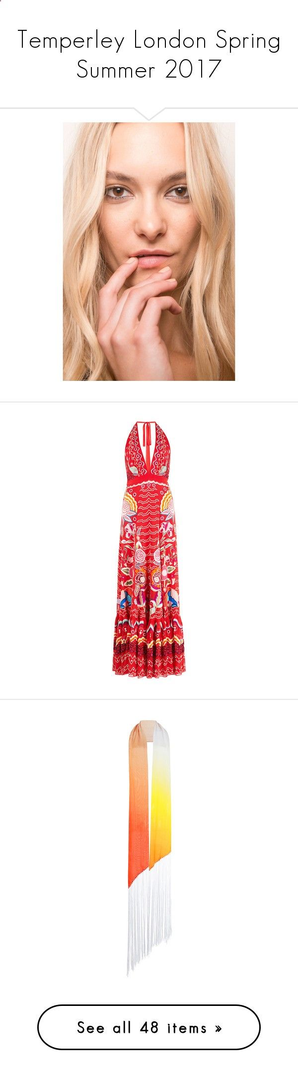 Temperley London Spring Summer 2017 by enam ❤ liked on Polyvore featuring logo, text, dresses, red, a line flared dress, embroidered dress, red v neck dress, temperley london dress, red a line dress and accessories