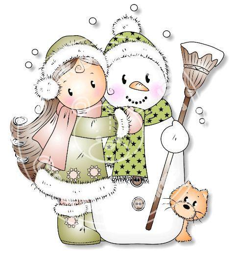 Digital (Digi) 'Snow Hugs' Stamp. Makes Cute Christmas Cards