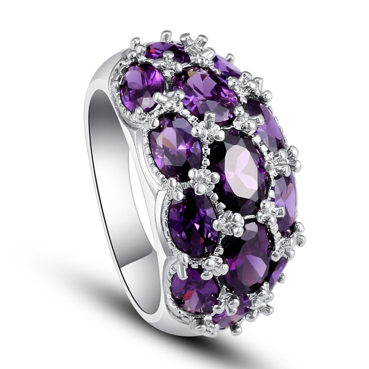 New Fashion Jewelry Amethyst 925 Silver Ring Size 7 8 9 10 Charming Vogue Oval Cut Gift For Women Wholesale