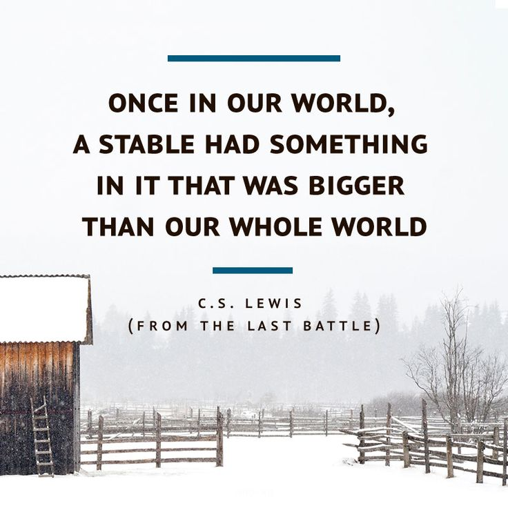Once in our world, a stable had something in it that was bigger than our whole world. -- C.S. Lewis (The Last Battle)  {affiliate}