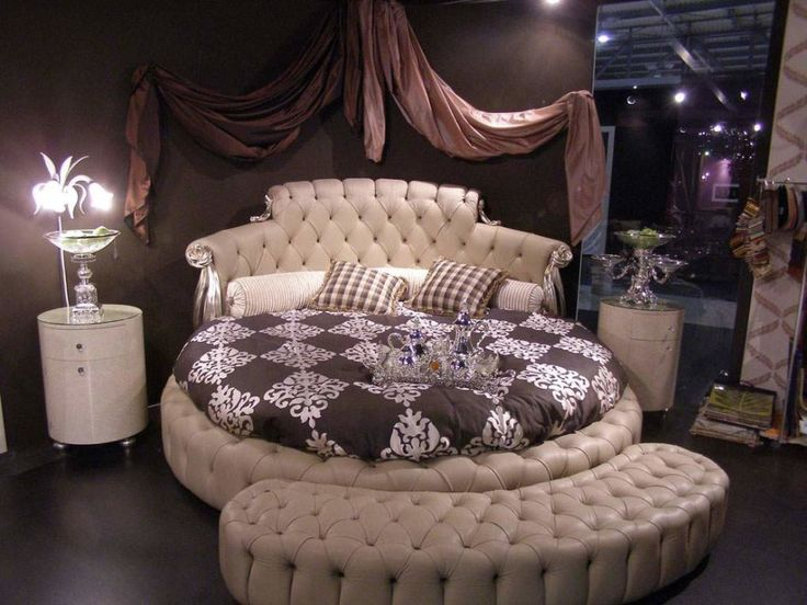 Bedroom. Luxurious Bedroom With Round Beige Leatherette Daybed And Curved Foot Stool Best Ideas As Well As Bedroom Furniture For Sale Also Expensive Sofa. Incredible And Most Expensive Bedroom Furniture Design