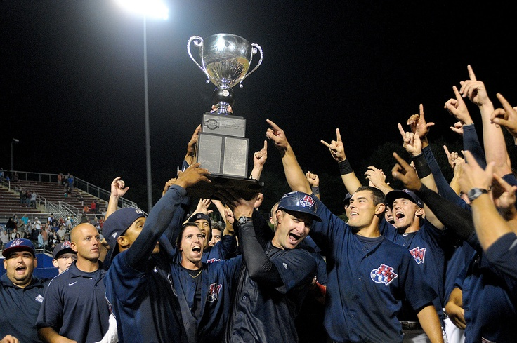 The Hudson Valley Renegades hoist the 2012 New York-Penn League championship trophy after defeating the Tri-City ValleyCats, 8-3, Thursday evening at Dutchess Stadium. (David Doonan photo/Times Herald-Record).
