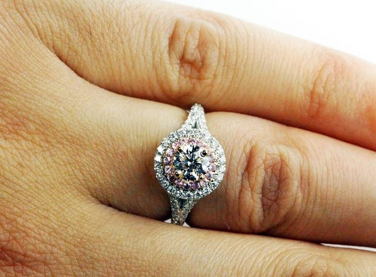 Unique Double Halo White Gold Engagement Ring with Inner Halo Designed in Pink Diamonds!