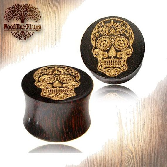 Organic Tamarind Wood Plugs Double Flare With by WoodEarPlugs
