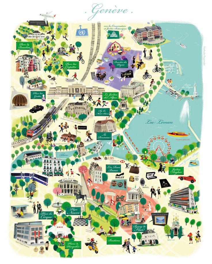 Carte Illustrée de Genève par Nathalie Ragondet   Illustrated Map of Geneve, Suisse