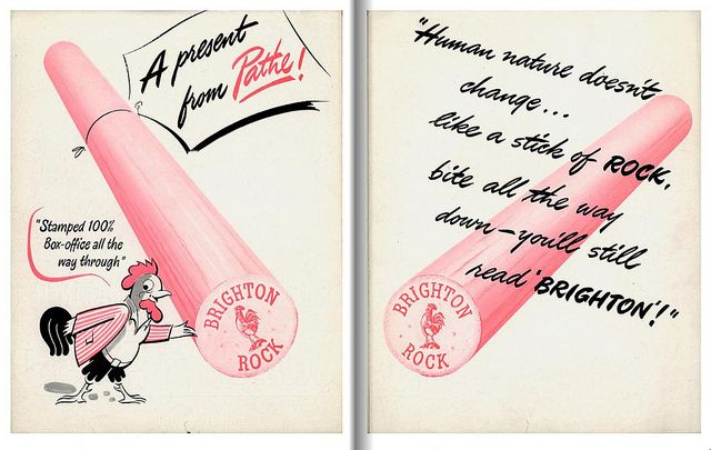 The centre spread of a press campaign book from the original Brighton Rock (1947) film. From BFI Special Collections.