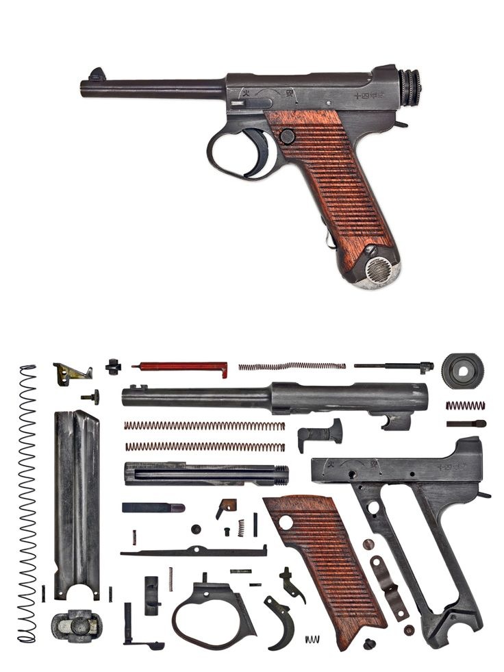 """Empire of Japan – (Nambu Type 14)  Kijiro Nambu's original pistol was an eclectic mix of ideas and many have pointed out he borrowed concepts from other military models such as the Glisenti or the Mauser C96. Unfortunately there is no proof of which designs, if any, influenced Nambu and the whole must be considered as a unique assembly. Known in the U.S. as the """"Papa Nambu,"""" this 8mm handgun was developed by 1904 and sold well commercially and in small numbers to Thailand, China, and the…"""