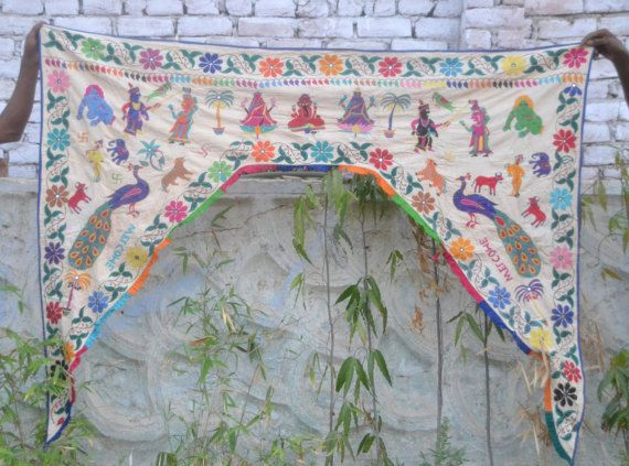 $99 Etsy Indian antique large wall hanging, door hanging door frame valance boho decor wall decor embroidery art door decor
