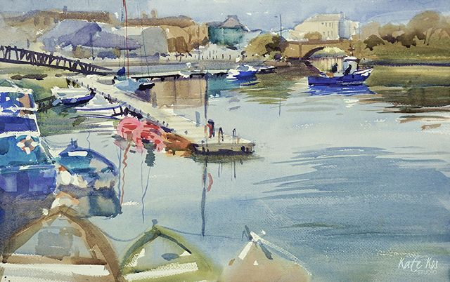 I had lovely time last #weekend in #Dungarvan #painting this lovely scene and chatting to #locals. They are so lucky to live in this beautiful #town. #watercolors #watercolour #watercolorpainting  #windsorandnewton #watercolorart #creativityfound #contemporaryart  #cylcollective #artstudio #artforsale #lovemyjob