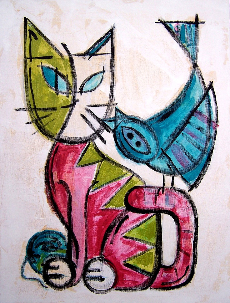 I donated this painting to a charity auction for the local animal shelter. #cat #cats #bird #birds