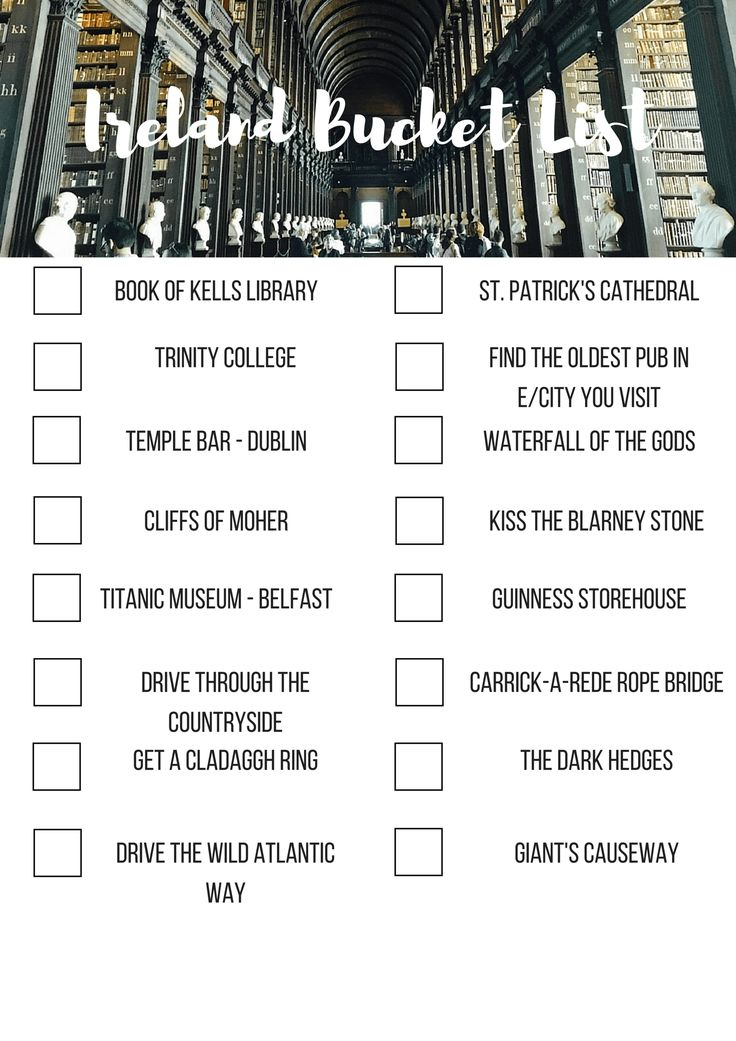 Bucket list for Ireland