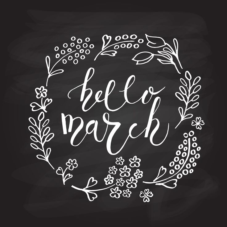 Hello March Lettering Calligraphy by Alps View Art on Creative Market
