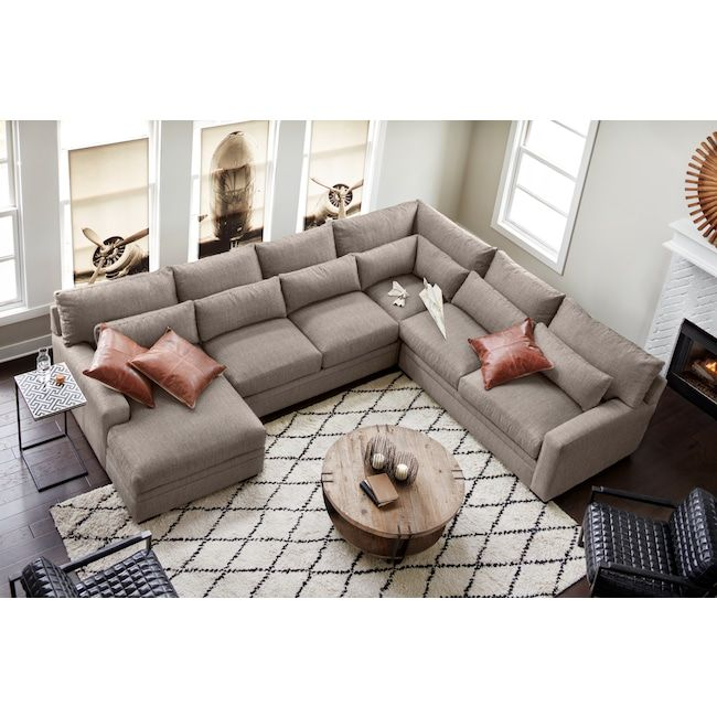Winston 4 Piece Sectional With Chaise Sectional Living Room Layout White Furniture Living Room Livingroom Layout