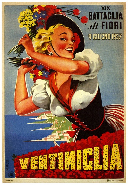 Ventimiglia, Italy vintage travel poster...these posters are so prominent in the Italian and French Riviera... I have an vintage circa 1960's original from Santa Margherita Ligure... Need to get it framed!
