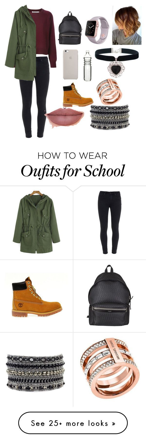 """school"" by foum on Polyvore featuring Paige Denim, Timberland, Yves Saint Laurent, Dot & Bo, Rock 'N Rose and Michael Kors"