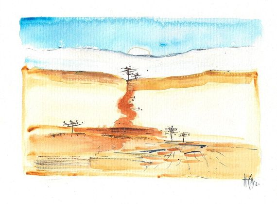"""This aquarelle (size ca. 10 x 7"""") was painted on high quality Canson watercolor paper (300 g/m²)."""