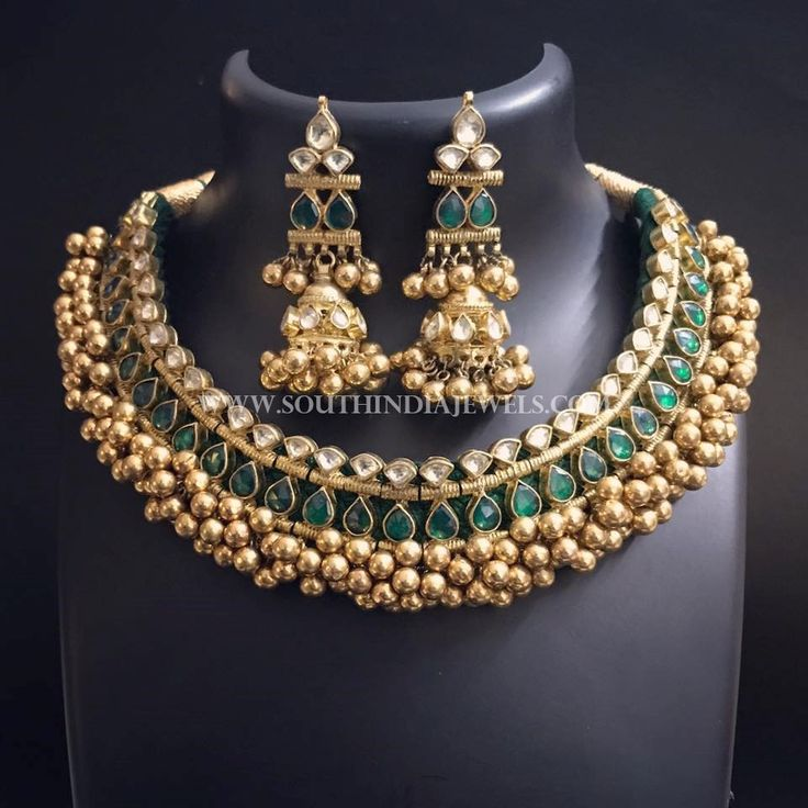 Gold+Plated+Antique+Tussi+Necklace+Set