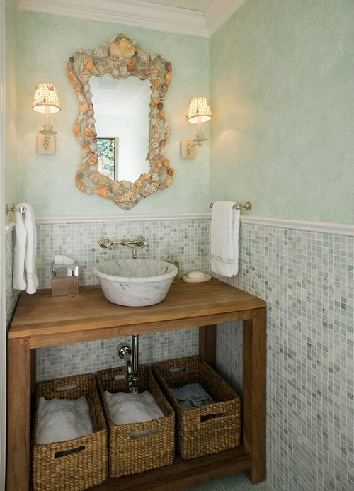 Powder room from Mrs. Howard, love the colors, the shell mirror, the vessel sink.  Simple AND interesting.Bathroom Design, Mirrors, Powder Room, Beach House, Half Bath, Bathroom Vanities, Bathroom Ideas, Hands Towels, Cottages Bathroom