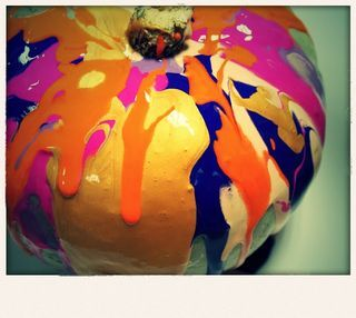 drip painting pumpkins #abcdoes #eyfs