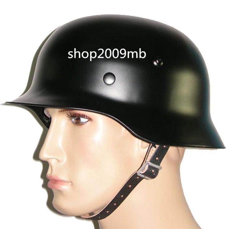 wwii german black m35 steel motorcycle helmet army field. Black Bedroom Furniture Sets. Home Design Ideas