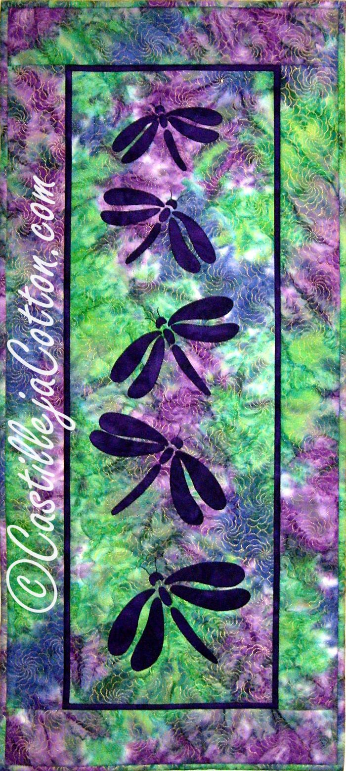 Table runner or wall hanging for Spring or Summer. Silhouette Dragonflies Quilt Pattern CJC-4315 by Castilleja Cotton - Diane McGregor.  Check out our wall hanging patterns. https://www.pinterest.com/quiltwomancom/quilted-wall-hangings/  Subscribe to our mailing list for updates on new patterns and sales! https://visitor.constantcontact.com/manage/optin?v=001nInsvTYVCuDEFMt6NnF5AZm5OdNtzij2ua4k-qgFIzX6B22GyGeBWSrTG2Of_W0RDlB-QaVpNqTrhbz9y39jbLrD2dlEPkoHf_P3E6E5nBNVQNAEUs-xVA%3D%3D