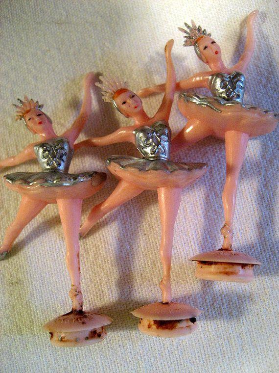 3 Vintage 1960s Dime Store Plastic Ballerina Cake by ButtonTownUSA, $3.25