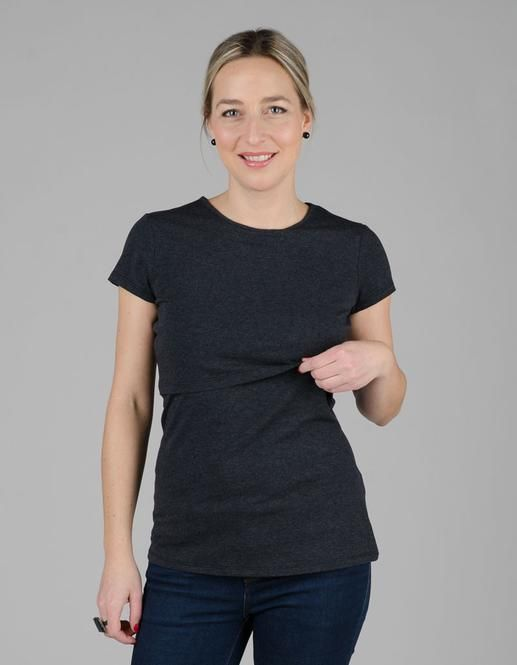 This cute round neck nursing top is classic Momzelle, with its flattering silhouette and practical openings.