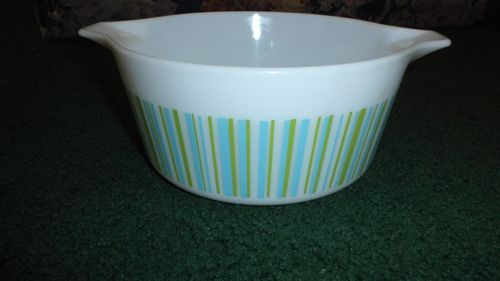 RARE Vintage Pyrex Turquoise and Green Barcode 474 Casserole - Starting bid:US $139.99