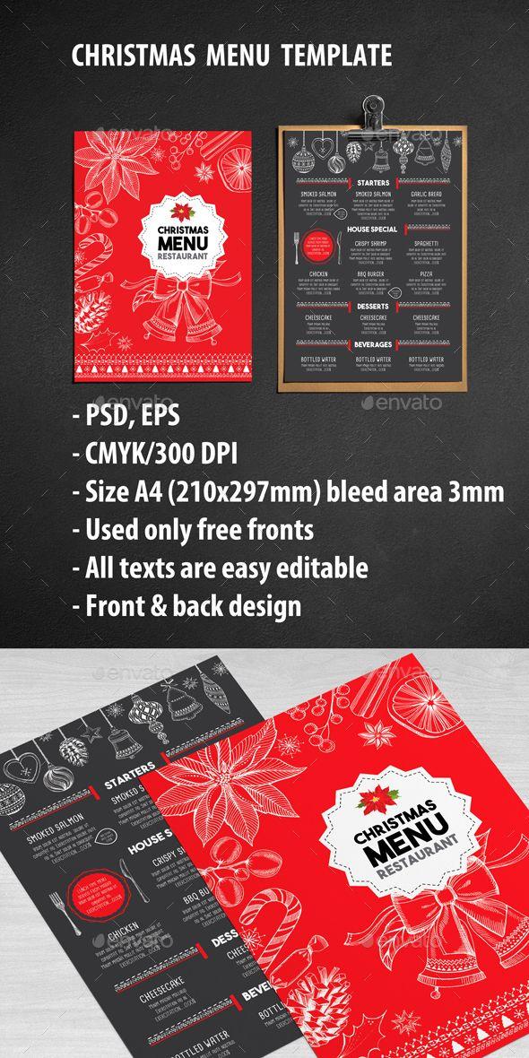Christmas Restaurant Menu Template PSD #design Download: http://graphicriver.net/item/christmas-restaurant-template/13298103?ref=ksioks