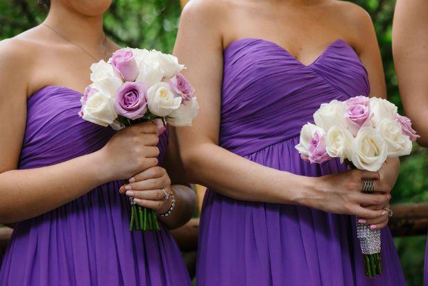 Purple bridesmaid dresses (Genya + Erik Shenko Photography)